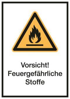 Kombischilder ASR A1.3/ISO 7010 [W021] Vorsicht! Feuergefährliche Stoffe
