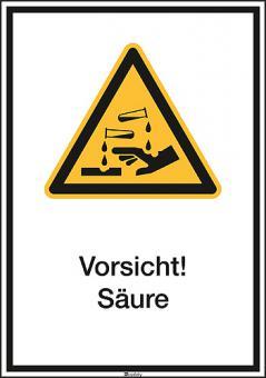 Kombischilder ASR A1.3/ISO 7010 [W023] Vorsicht! Säure