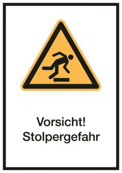 Kombischild ASR A1.3/ISO 7010 [W007] Vorsicht! Stolpergefahr 210mm   297mm   Folie selbstklebend