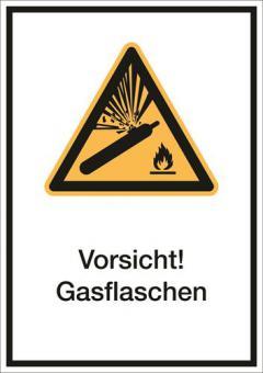 Kombischild ASR A1.3/ISO 7010 [W029] Vorsicht! Gasflaschen 210mm | 297mm | Folie selbstklebend
