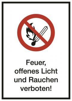 Kombischild ASR A1.3 [P003]/BGV A8 [P02] Feuer,offenes Licht u. Rauchen verboten!