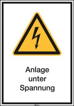 Kombischild ASR A1.3 [W012]/BGV A8 [W08] Anlage unter Spannung