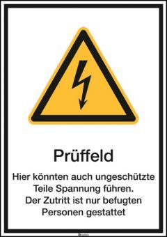 Prüffeld Hier Könnten auch ungeschützte… etc. Kombischild ASR A1.3 (W012) / BGV A8 (W08)