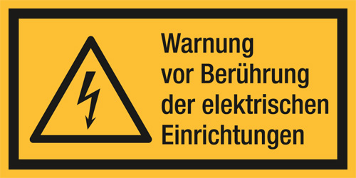 Kombischild ASR A1.3 [W012]/BGV A8 [W08] Warnung v. Berührung der elektrischen...etc.