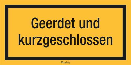 Textschild: Geerdet und kurzgeschlossen