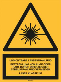 Kombischild: Unsichtbare Laserstrahlung LASER KLASSE 2M.