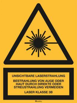 Kombischild: Unsichtbare Laserstrahlung LASER KLASSE 3B.