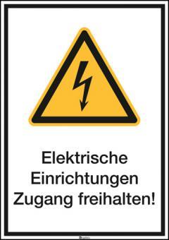 Kombischild ASR A1.3 [W012]/BGV A8 [W08] Elektrische Einrichtungen Zugang frei...etc.