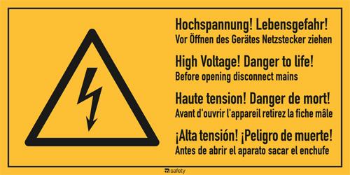 """Mehrsprachige Kombischilder f. Elektrot. Text: """"Hochspannung!..."""""""