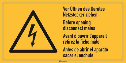 """Mehrsprachige Kombischilder f. Elektrot. Text: """" Vor Öffnen des Gerätes..."""""""