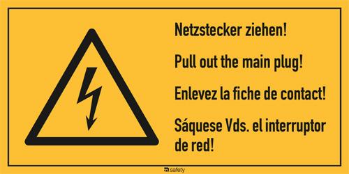 """Mehrsprachige Kombischilder f. Elektrot. Text """"Netzstecker ziehen!..."""""""