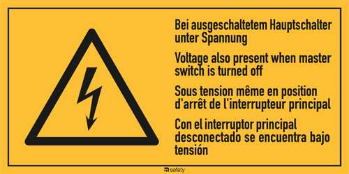 "Mehrsprachige Kombischilder f. Elektrot. Text: ""Bei augeschaltetem Hauptschalter"""
