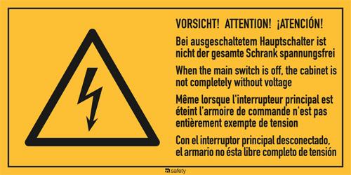 """Mehrsprachige Kombischilder f. Elektrot. Text: """" VORSICHT! ATTENTION!..."""""""