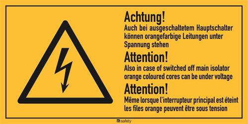 """Mehrsprachige Kombischilder f. Elektrot. Text: """"Achtung! Auch bei..."""""""
