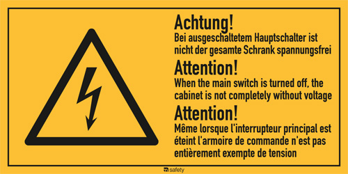 "Mehrsprachige Kombischilder f. Elektrot. Text: ""Achtung! Bei ausgeschaltetem..."""