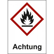 GHS 02 Flamme, Text: Achtung