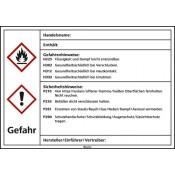 Kraftstoffetiketten (nach GHS) Gesundheitsschädlich / leicht entzündlich / PVC-Folie