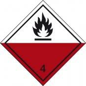 Gefahrgutkennzeichnung Klasse 4 Unterklasse 4.2/Selbstentzündliche Stoffe
