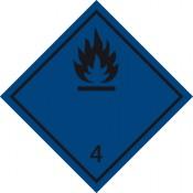 Gefahrgutkennzeichnung Klasse 4 Unterkl. 4.3 schwarz/Bei Wasserkontakt entzündliche Gasbildung