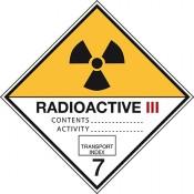 Gefahrgutkennzeichnung Klasse 7 Kategorie 3 / Radioaktive Stoffe