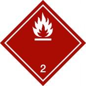 Gefahrgutkennzeichnung Klasse 2 weiß, Unterklasse 2.1/Entzündbare Gase