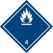 Gefahrgutkennzeichnung Klasse 4 Unterkl. 4.3 weiß/Bei Wasserkontakt entzündliche Gasbildung