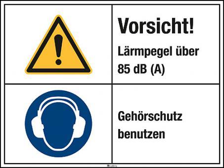Kombischild mit Warnzeichen W001 Folie, Länge: 200 mm, Höhe: 150 mm