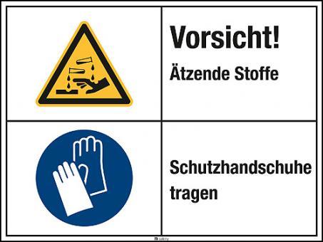 Kombischild mit Warnzeichen W023 Folie, Länge: 200 mm, Höhe: 150 mm
