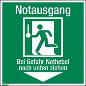 Notausgang – Bei Gefahr Nothebel nach unten ziehen