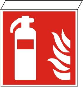 Fahnenschild  Feuerlöscher nach ISO 7010 / F 001,  z.B zur DECKENMONTAGE 200 x 200   Kunstoff   ja   -   -