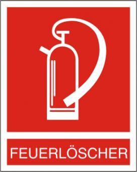 Brandschutzschild Feuerlöscher BGV A8 F 05, mit Zusatztext