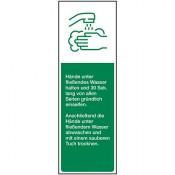 Hände waschen, Folie, 50 x 150 mm, grün/weiß