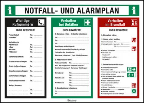 Notfall- und Alarmplan Kunststoff, Länge: 700 mm, Höhe: 500 mm