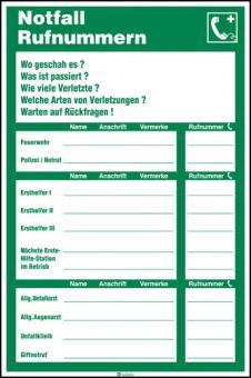 Notfall-Rufnummern Kunststoff, Länge: 200 mm, Höhe: 300 mm