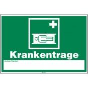 Erste Hilfe Zeichen, Krankentrage mit Pikto aus Kunststoff, Länge: 300 mm, Höhe: 200 mm