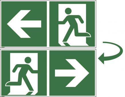 ASR A1.3/ISO 7010 [E001/E002] Rettungsweg rechts/links inkl. 2 Bohrungen, doppelseitig