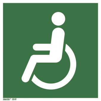 Rollstuhlfahrer  linksweisend