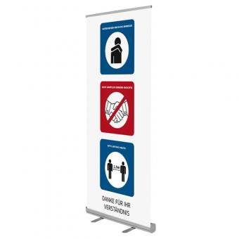 RollUp-Display mit Hygienehinweisen - QuickEasy ® 2.0 85/200