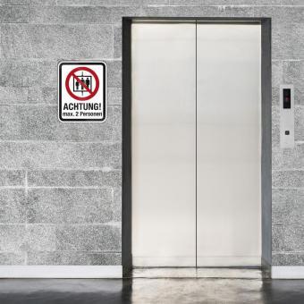 Aufzug max 2 Personen - Verbotsschild / Aufkleber/ Größe: 20 (B) x 25 (H) cm