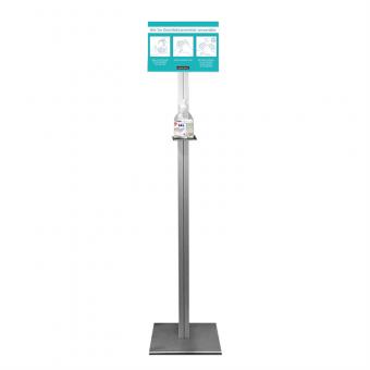 Infodisplay mit integrierter Ablage für Desinfektionsspender und Postertasche DIN A4 (A) blau