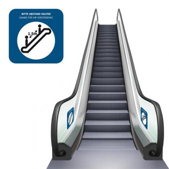Abstand halten - Rolltreppe
