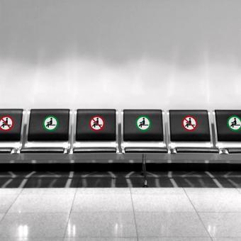 Aufkleber - Sitzen verboten / gestattet
