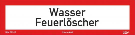 """Brandschutzschild (Zusatz) mit Text """"Wasser Feuerlöscher"""", KNS"""