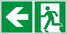Rettungswegschild als Kombiversion zum Hinweis auf Laufrichtung nach links E001+E005