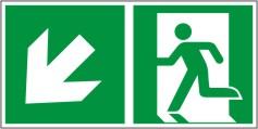 Rettungswegschild als Kombiversion zum Hinweis auf Etagenwechsel / nach links abwärts gehen