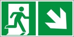Rettungswegschild als Kombiversion zum Hinweis auf Etagenwechsel / nach rechts abwärts gehen