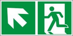 Rettungswegschild als Kombiversion zum Hinweis auf Etagenwechsel / nach links aufwärts gehen