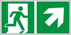 Rettungswegschild als Kombiversion zum Hinweis auf Etagenwechsel / nach rechts aufwärts gehen
