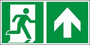 Rettungswegschild als Kombiversion zum Hinweis auf Laufrichtung geradeaus/geradeaus durch Tür