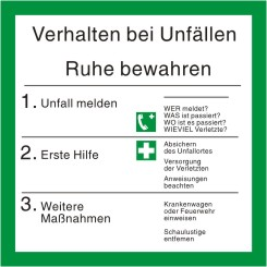 """Schild """"Verhalten bei Unfällen"""" mit Symbolen nach ISO 7010"""